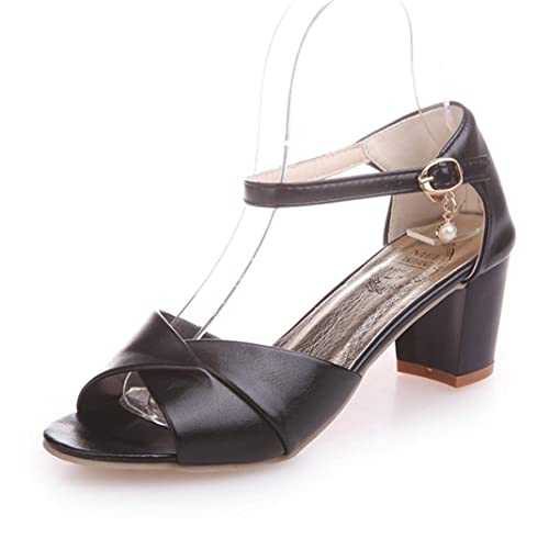 c061f0d3c2ff39 Sandalen Damen Sommer mit Absatz Mumuj Mode Weiß Ankle Strap Sandaletten  High Heel Sandaletten Elegant Slingback