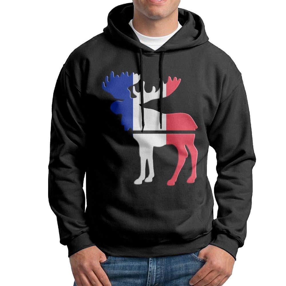 Gppp899 Men Pullover Hoodies Moose France Flag Long Sleeve Fleece Hooded Sweatshirt Sweater Blouses Tops