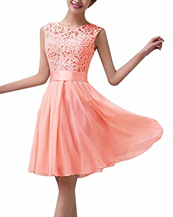 OUMIZHI Womens Lace Back Open Short Sleeves Chiffon Long Evening Dresses Pink