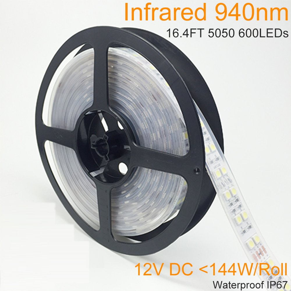 LightingWill DC12V 5M/16.4ft 144W SMD5050 600LEDs InfraRed 940nm Tri-chip Double Row High Intensity Flexible IR 940nm LED Strip 120LEDs/M, Waterproof IP67 for Multitouch Screen Night Light Application