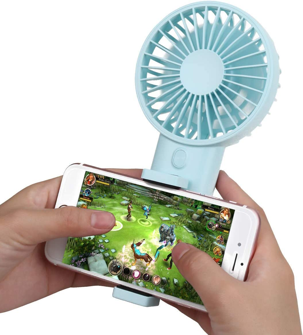 Bomb Mini Handheld Fan with Cell Phone Holder, Personal Portable Stroller Table Fan with USB Rechargeable Battery Operated Cooling Electric Fan for Office Room Outdoor Household Traveling