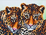 Leopards Beads embroidery kit; contemporary embroidery; gift idea; needlepoint design; decor; seed beads Preciosa;