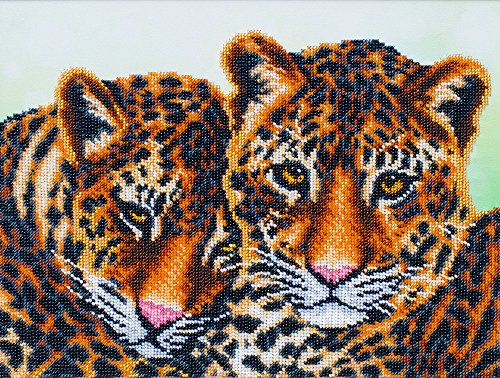 Leopards Beads embroidery kit; contemporary embroidery; gift idea; needlepoint design; decor; seed beads Preciosa; by BeadsCreative