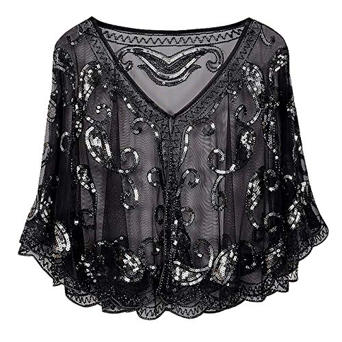 Aprsfn Women's Vintage 1920s Mesh Lace Sequins Beaded Evening Cape Wraps Shawl Flapper