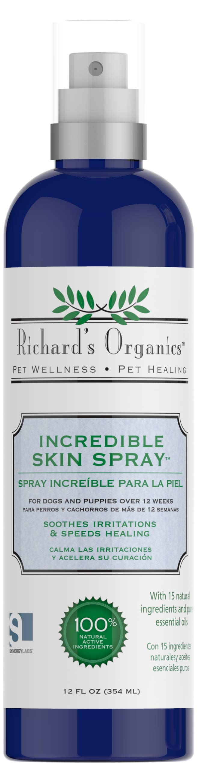 Richard's Organics Incredible Skin Spray for Dogs – Provides Relief from Skin Irritations Like Hot Spots, Dry Skin, Insect Bites and More – Speeds Healing, Fast Acting -100% Natural Active Ingredients (12 oz.)
