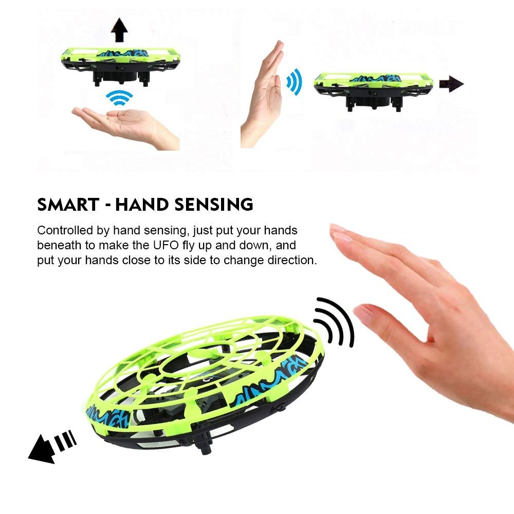 GearRoot Hand-Controlled Flying Ball Drone UFO Toy RC Helicopter with Remote Control Mini Pocket Drone Quadcopter Hover Ball Flying Toys for Boys Girls Adults Kids 5+ Year Old (Green) by GearRoot (Image #2)