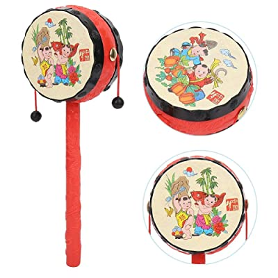 Qinlorgo Toddler Musical Instruments - Chinese Traditional Rattle Drums Classic Cartoon Baby Toys Educational Musical Instrument, Musical Toys Set for Boys and Girls: Home & Kitchen