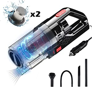 Car Vacuum Cleaner High Power 6000PA 150W Handheld Vacuum, Double Filtration Portable Handheld Car Vacuum, DC12V Corded Car Vacuum Wet Dry Use for Quick Cleaning