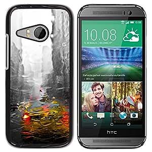 "Pulsar Snap-on Series Teléfono Carcasa Funda Case Caso para HTC ONE MINI 2 / M8 MINI , New York City Cab lluvia edificios grises"""