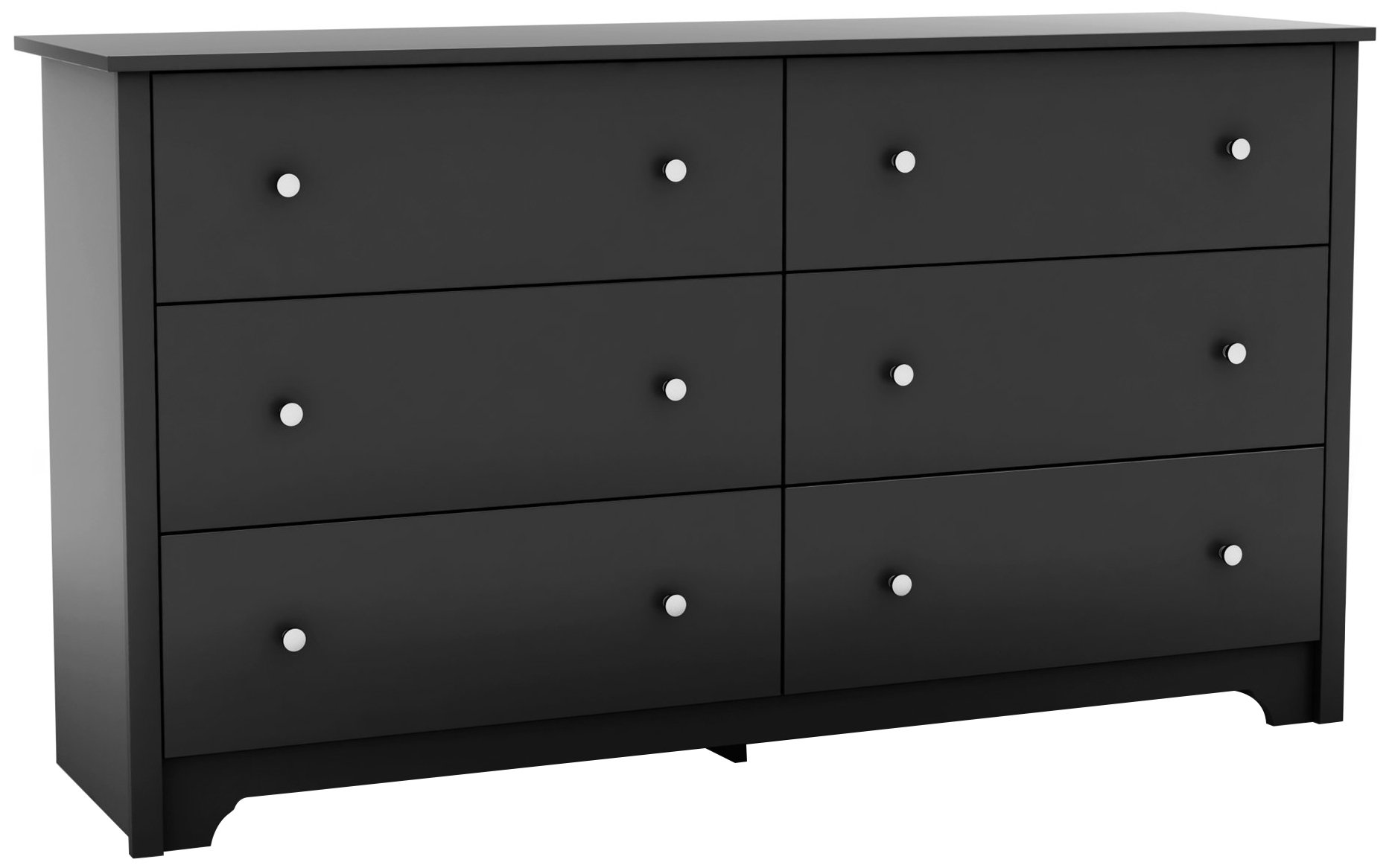 South Shore Vito Collection 6-Drawer Double Dresser, Black with Matte Nickel Handles