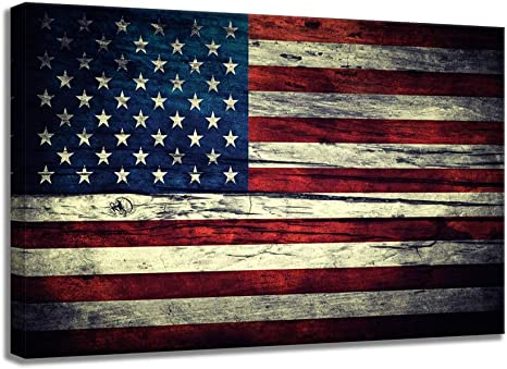 Amazon Com Stars Stripes American Flag Vintage Wooden Background Wall Art Canvas Print Us Usa Themed Home Decor Pictures For Living Room Bedroom Painting Poster Framed To Hang 24 X36 Stars Stripes 9 Home