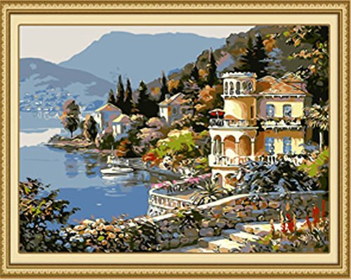 Diy Oil Painting Paint by Number Kit for Adults Beginner 16x20 inch - Lakeside Village Pattern, Drawing with Brushes Christmas Decor Decorations Gifts (Without - Lakeside Village