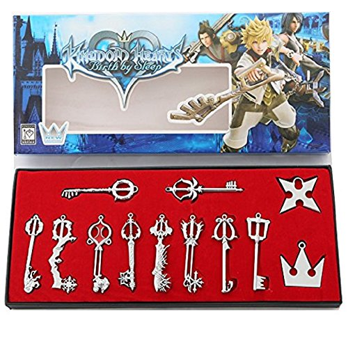 Kingdom Keys Hearts Keyblade Pendant Necklace Set Cosplay Accessories for Christmas Gift Silver 12