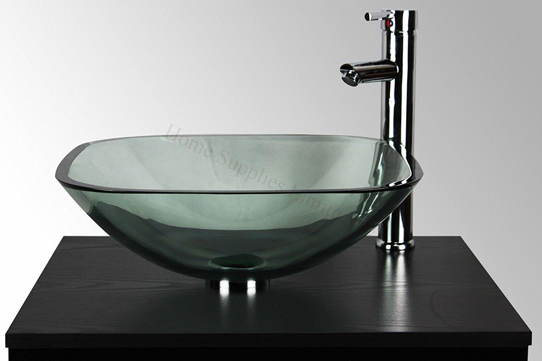 Home Supplies - Lavabo in vetro da appoggio, a forma di scodella, per bagno e toilette, trasparente