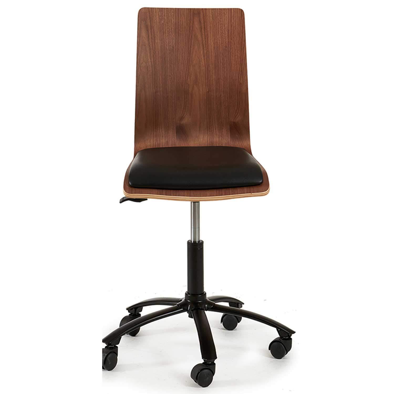TU TENDENCIA ÚNICA Silla de oficina Byron. Estructura de madera con base acolchada en color negro. 5 patas con ruedas para facilitar su manejo.