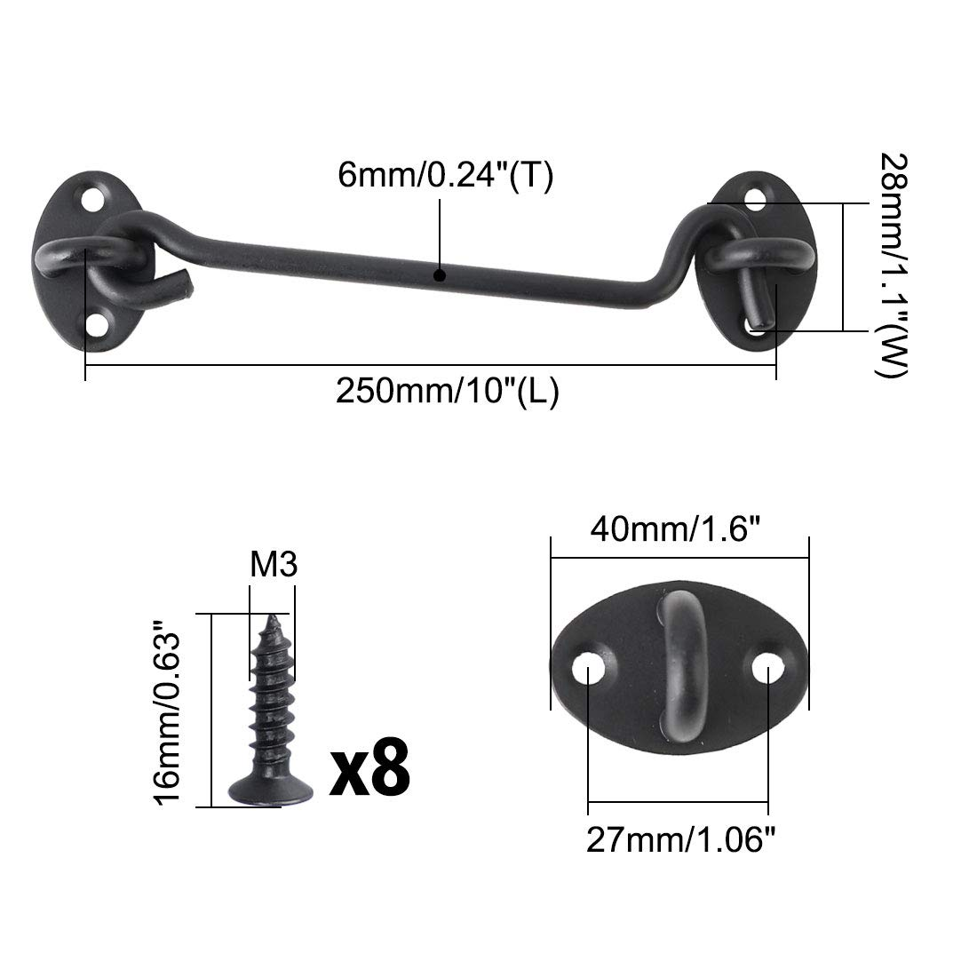 2pcs Stainless Steel Eye Latch Privacy Hooks Door with Screws Lock for Gate Shutters Window Slide Barn Shed Black uxcell/® 8 Inch Cabin Hook