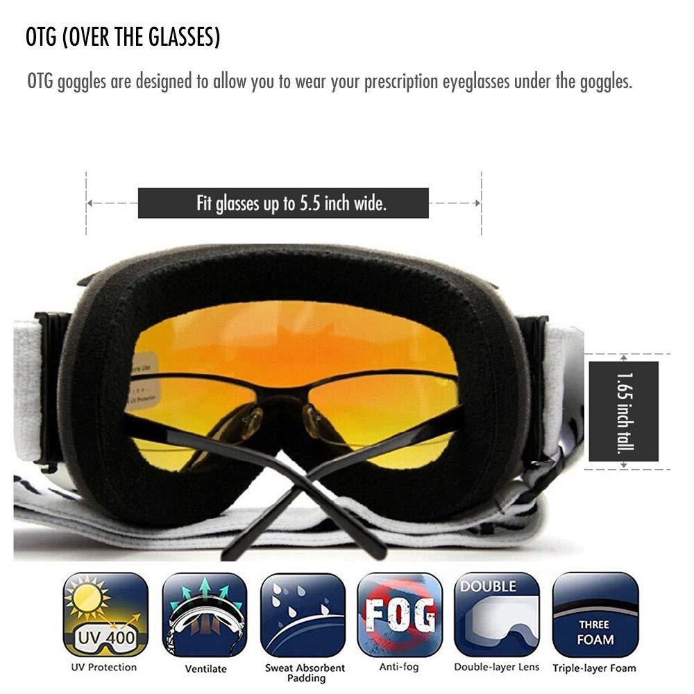 45e29762c17 Amazon.com   JoySki 7 Colors Professional Unisex Ski Goggles with Mirror  Coating Anti Fog-UV400 Protection Detachable Wide Angle Big Spherical  Double Lens ...