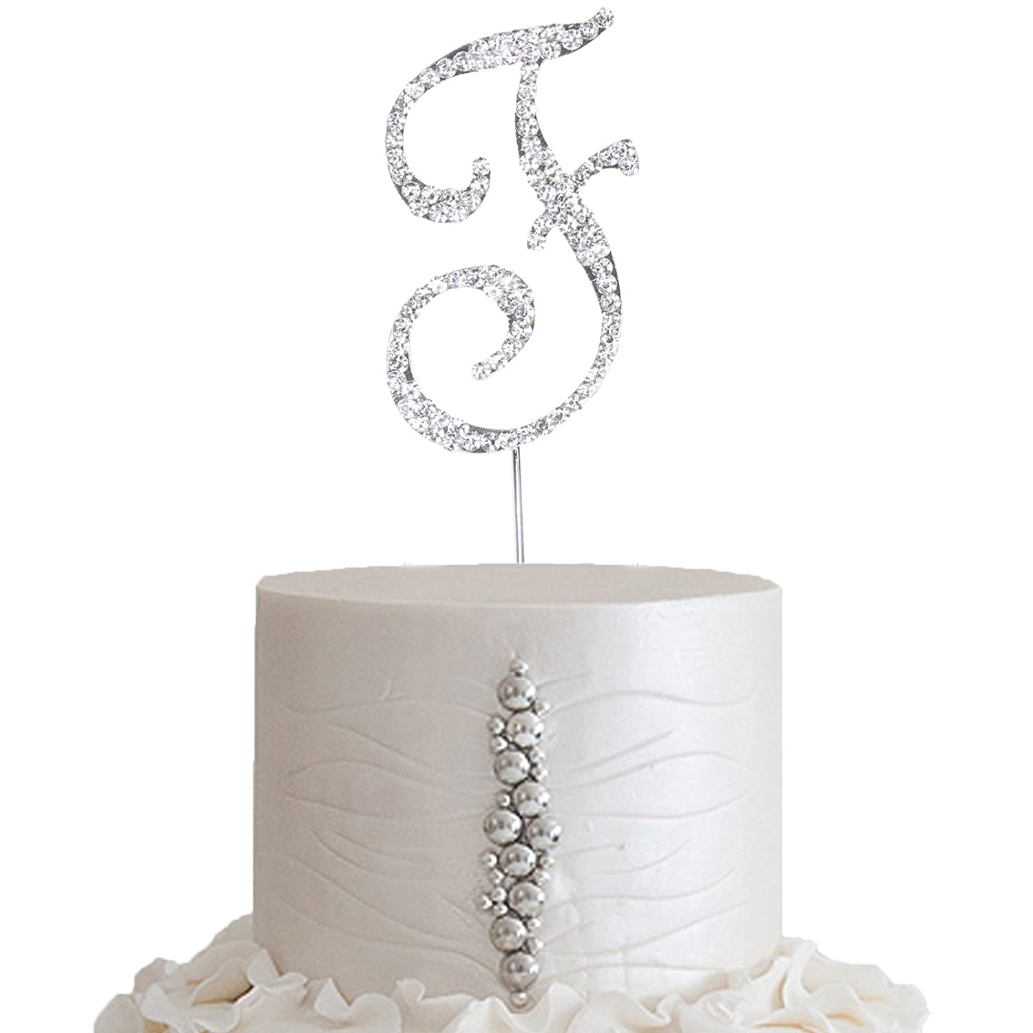 """2.5/"""" SILVER Letter G Rhinestone Cake Topper Wedding Party Decorations SALE"""
