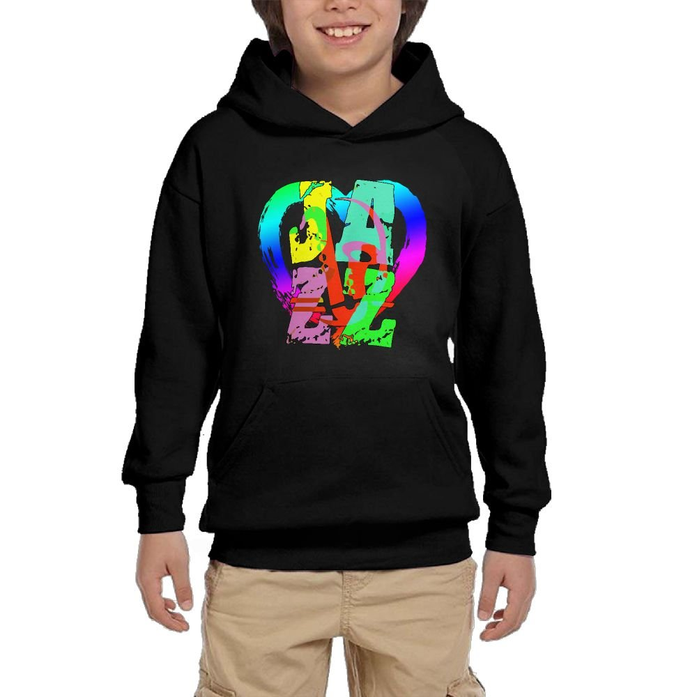 Youth Black Hoodie Cool Saxophone and Hip Jazz.PNG Hoody Pullover Sweatshirt Pocket Pullover For Girls Boys M by Hapli