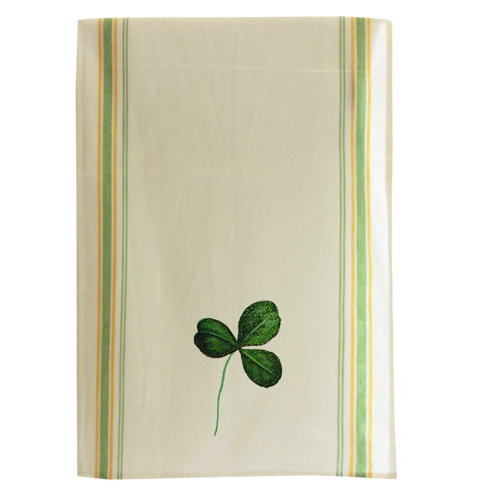 Irish Shamrock Holidays Style 1 Cotton Retro Stripe Dish Kitchen Towel Green Stripe
