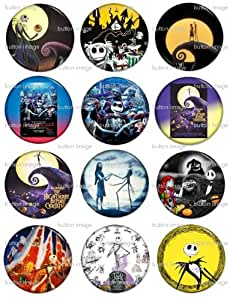 """Set of 12 THE NIGHTMARE BEFORE CHRISTMAS Pinback Buttons 1.25"""" Pins / Badges"""