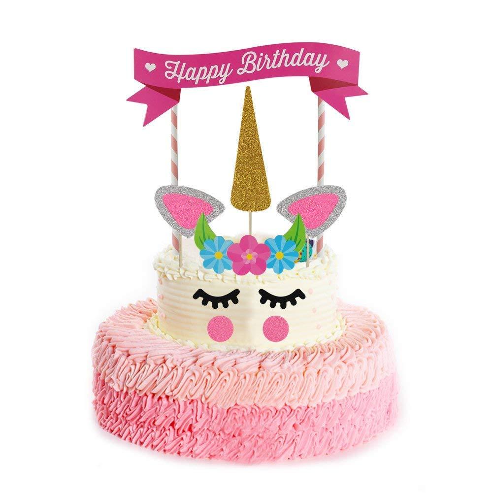 1 juego de decoración para tarta de unicornio reutilizable ...