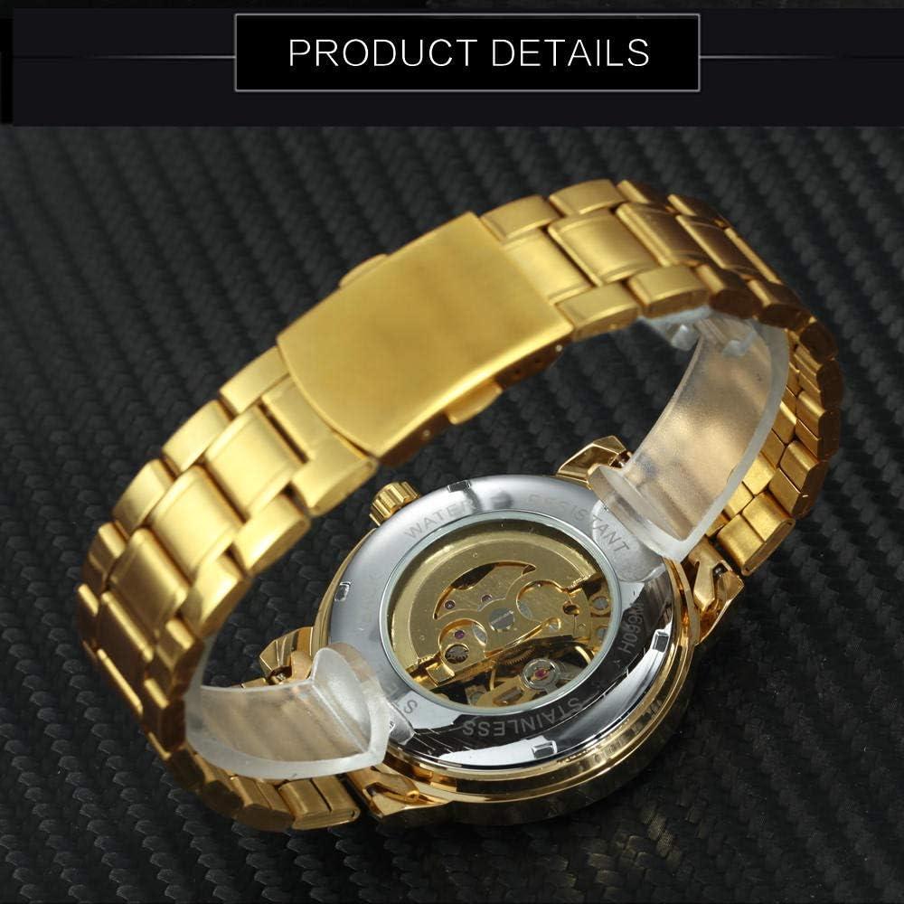 Montres Marque De Homme Montre Automatique Mécanique Montres Squelette Hommes Bracelet en Acier Doré Robe Classique Montre Bracelet De Mode Gold Gold
