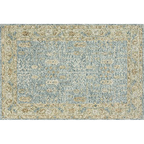 Julian 5' x 7'6'' Hand Hooked Wool Rug in Blue and Gold Area Rug Dining Room Home Bedroom Carpet Floor Mat
