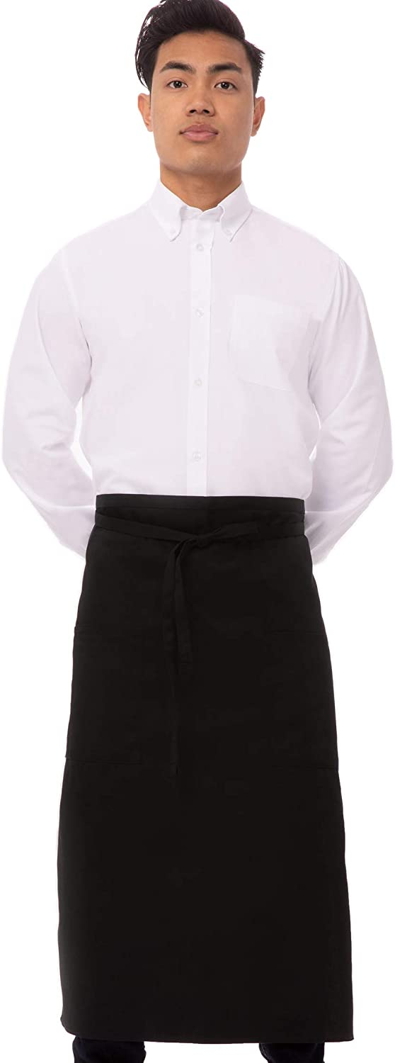Chef Works unisex adult Two Pocket Bistro Apron apparel accessories, Black, One Size US: Clothing