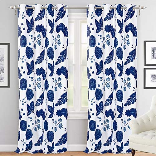 DriftAway Gianna Floral Botanical Print Flower Leaf Lined Thermal Insulated Room Darkening Blackout Grommet Window Curtains 2 Layers 2 Panels Each 52 Inch by 84 Inch Navy