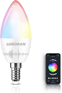 LED Candelabra Bulbs E12 Base, LUMIMAN Color Changing RGB Dimmable and Tunable Smart Light Bulb, Works with Alexa, Echo, Google Home & Siri, 2.4GHz WiFi Only, No Hub Required 400lm(1 Pack)