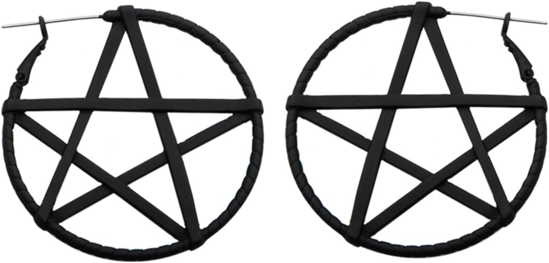 BYB Plugs Pair of Black Matte Steel Pentagram Star Plug Hoop Earrings