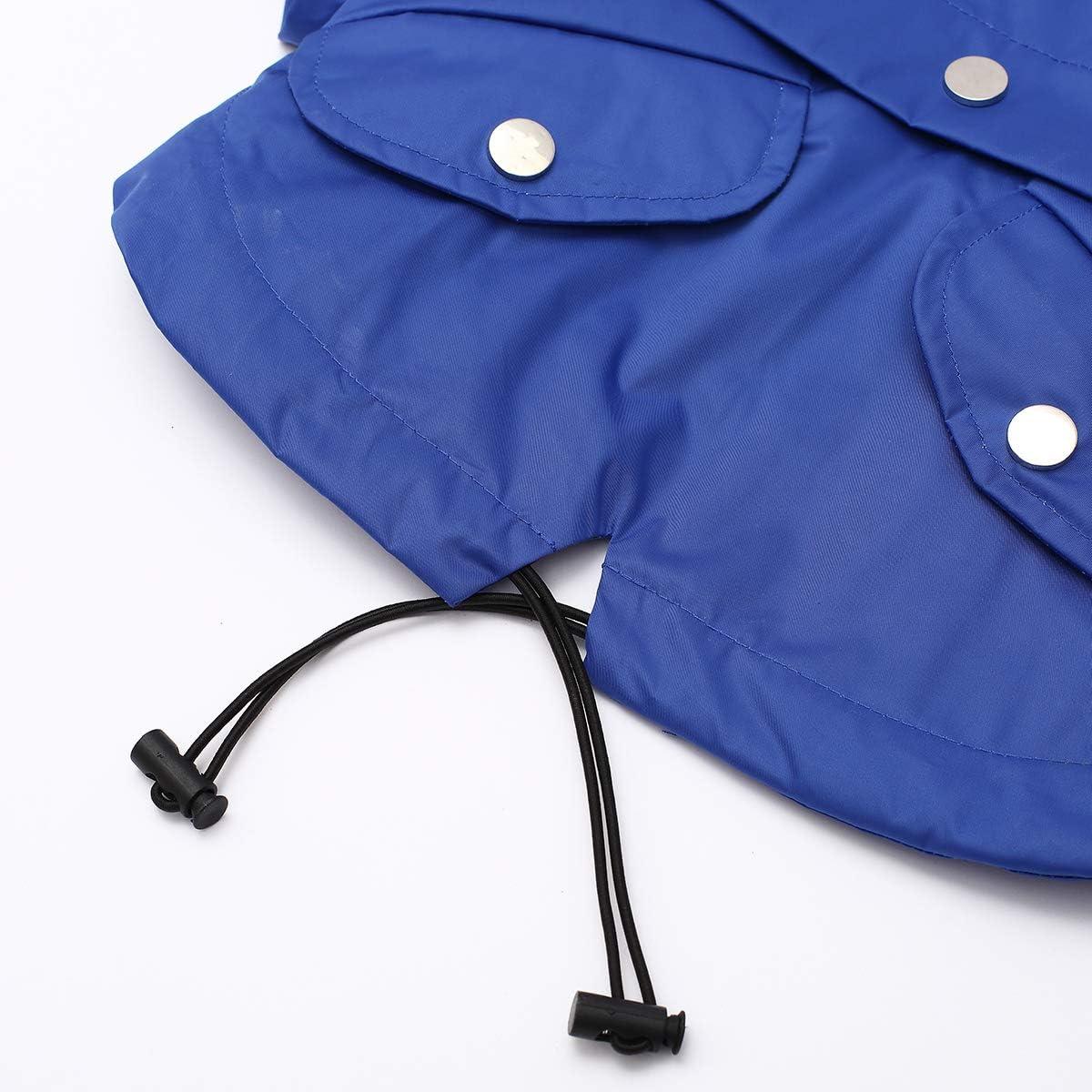 Rain//Water Resistant Removable Hood Morezi Dog Zip Up Dog Raincoat with Reflective Buttons Stylish Premium Dog Raincoats Adjustable Drawstring Size XS to XXL Available