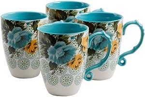 The Pioneer Woman Rose Shadow Jumbo 26-Ounce Latte Mug Set, Set of 4