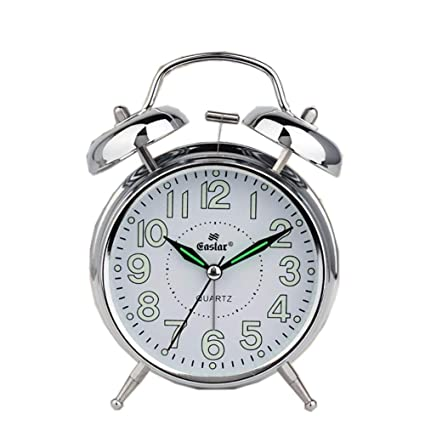 Amazon.com: Foxs Luminous Metal Alarm Clock Mute 4 Inch ...