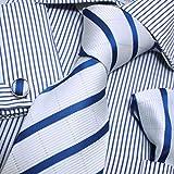 Designer Inspired Blue White Stripes 100% Silk Tie Hanky Mens Necktie Cufflinks Set with Gift Box Set PH1017 One Size Blue,White