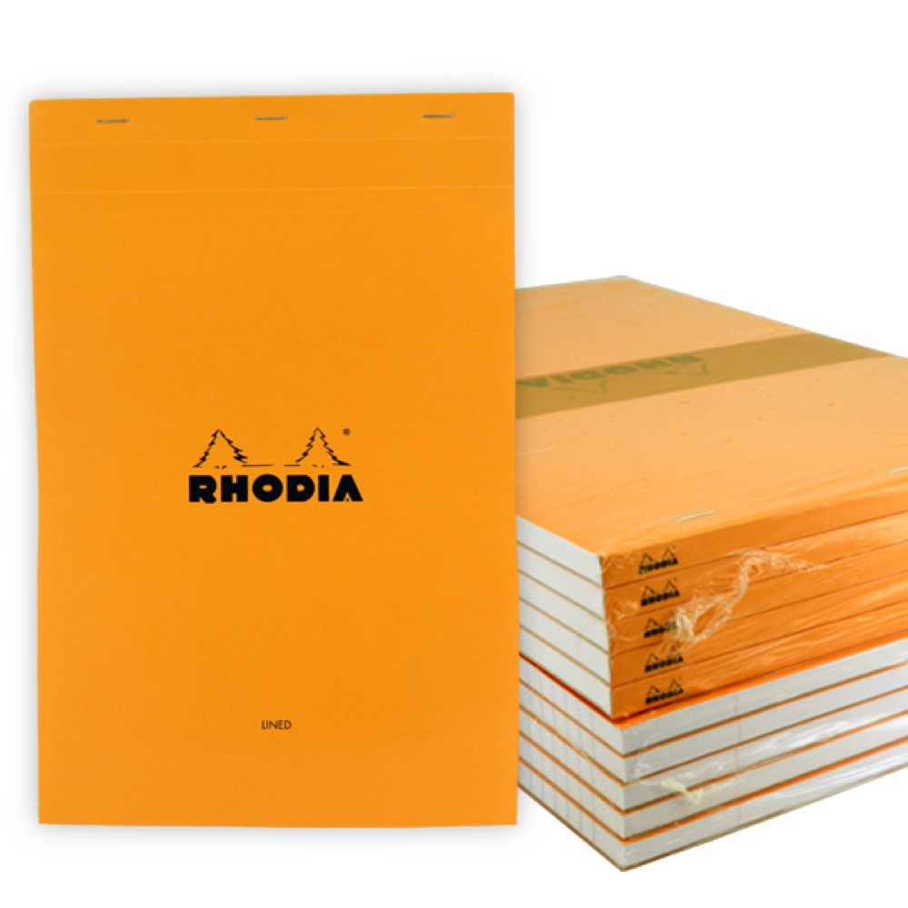 Rhodia Classic Orange Notepad 8.25X12.5 Lined 10Pk