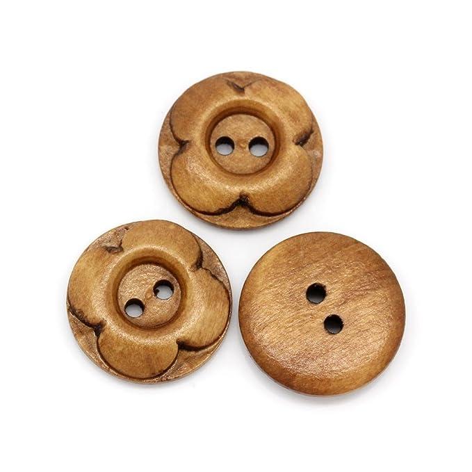 20 Stück rund Bead and Button Company 20 mm Blume Tasten aus Holz geschnitzt