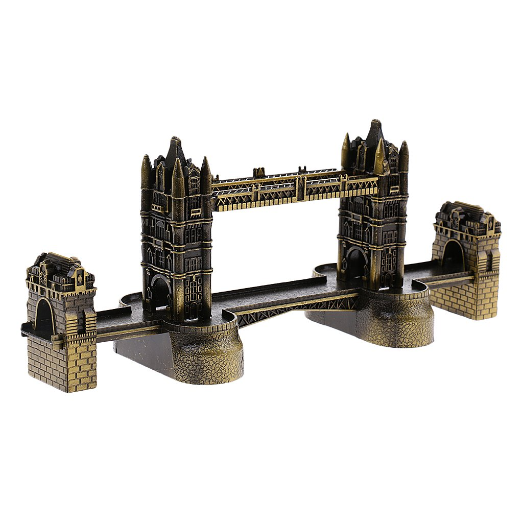 Fenteer 8'' 3D Metal Building Model Toy London Tower Bridge Gift for Boys/Adults/Kids Copper Bronzer
