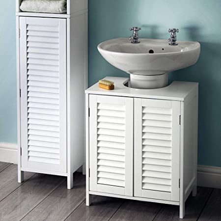 Groovy House Homestyle White Slatted Wooden Bathroom Under Sink Home Interior And Landscaping Eliaenasavecom