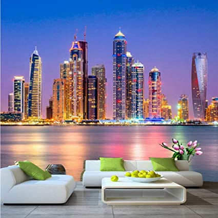 3D Dubai Skyline Buildings Night Wall Mural Wallpaper Living Room Inside Wall