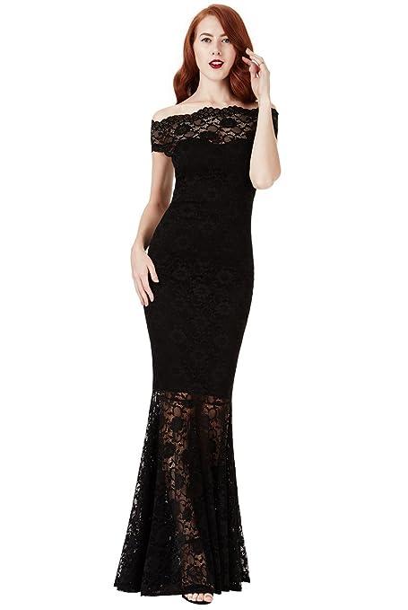 a09f8aee67f Goddiva Black Lace Bardot Maxi Evening Fishtail Mermaid Formal Party Dress  Prom Bridesmaid (8)  Amazon.co.uk  Clothing