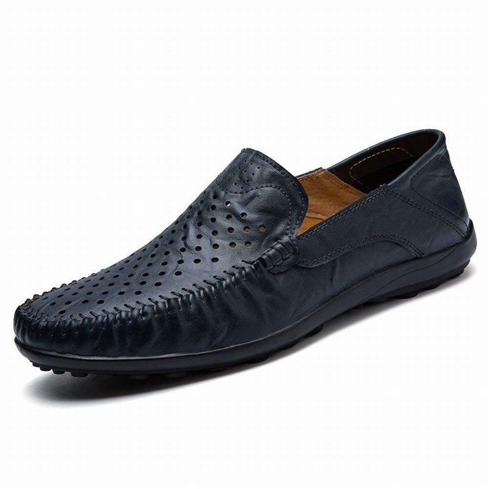 Große Lederne Hohle Erbsenschuhe Männliche Lederne Faule Schuhe Lederne Britische Freizeitschuhe (Farbe   DunkelBlau, Größe   38)