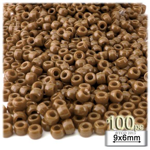 100pc Plastic Round Opaque Pony Beads 9x6mm Light Brown beads (Pony Bead Plastic Light)