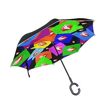 ALAZA labios coloridos paraguas invertido paraguas plegable de doble capa resistente al viento reverso de impresión