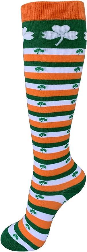 Kids Socks With White Shamrock Print Green Colour