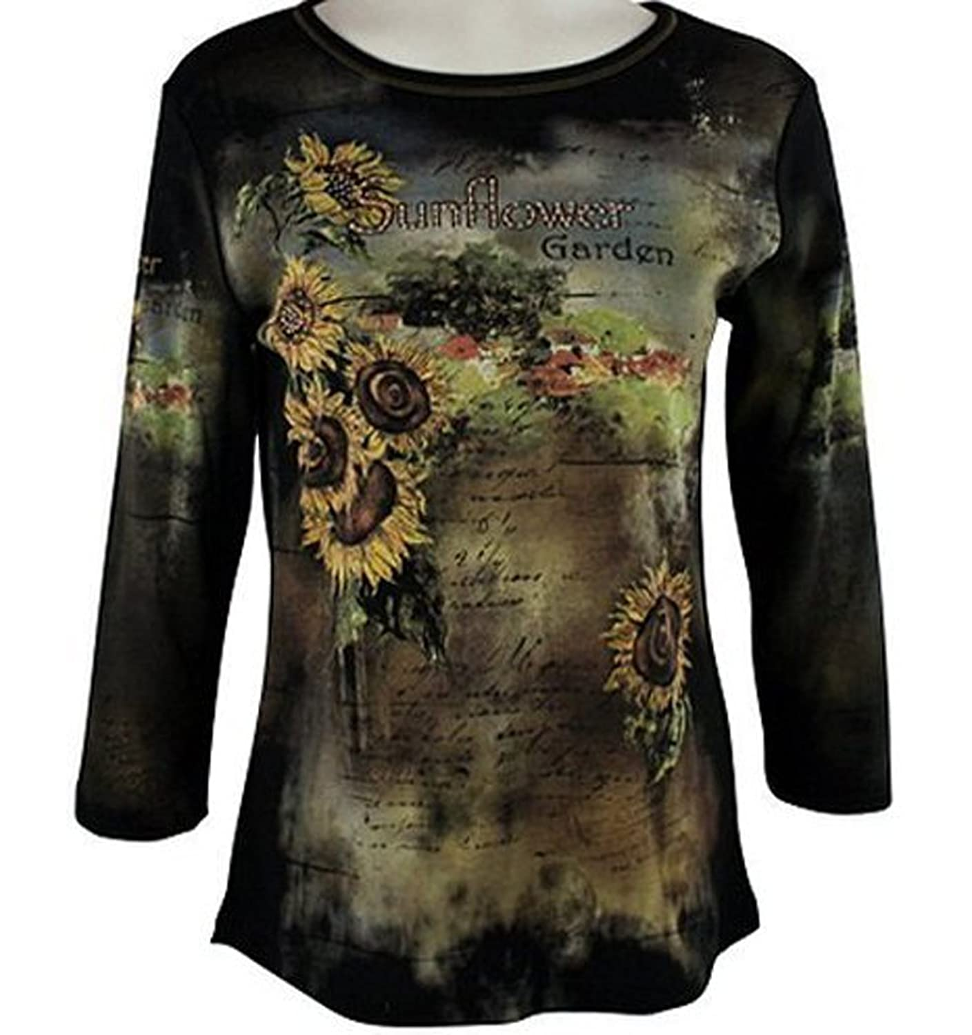 Cactus Fashion - Sunflower Field, Scoop Neck Cotton Print Rhinestone Top