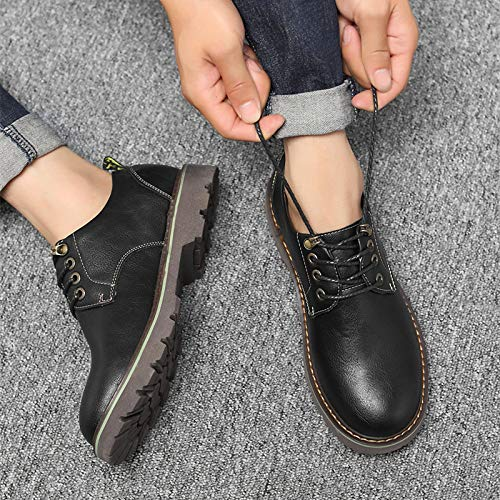Black ZyuQ Ankle boots Autumn Tooling shoes Men'S Men'S shoes Martin Boots Low To Help Casual shoes Thickening shoes