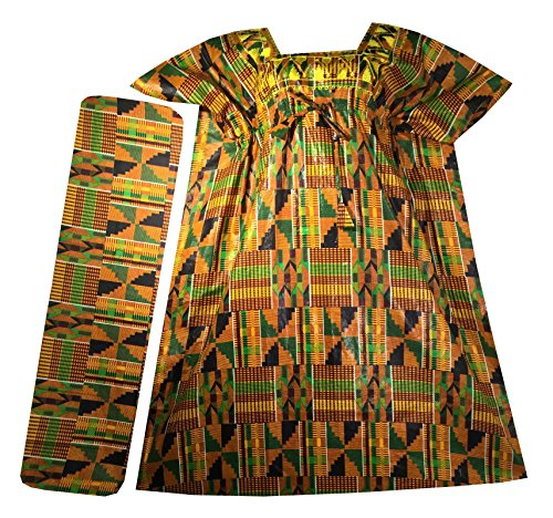 Decoraapparel Womens African Dress Traditional Dashiki Maxi Caftan Cotton Kaftan One Size (Orange Green Wine P03 Kaftan) by Decoraapparel