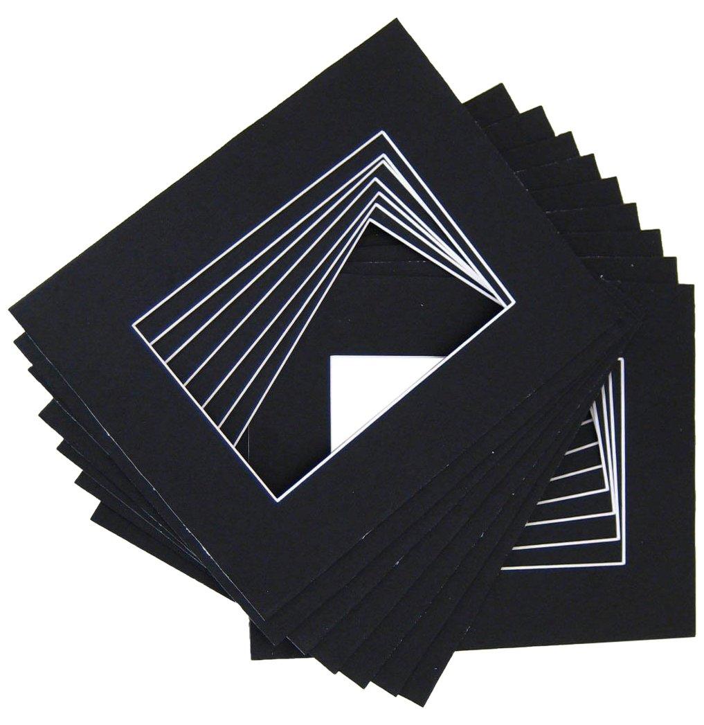 10 of 18x24 Black Pre-cut Acid-free whitecore mat for 13x19 + back+bag Golden State Art K18241319142w010